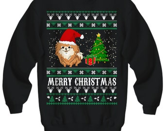 Merry Christmas Pomeranian, Pomeranian Clothes, Pomeranian Sweatshirt, Ugly Christmas Sweater