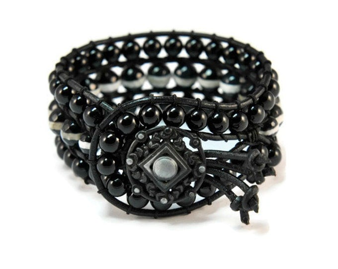 Boho Mystic * Agate & Onyx. 3 strand Wrap Bracelet. Boho Style. Bohemian Jewelry. Semiprecious stones. Gift for her. Cuff Bracelet.