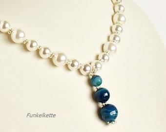 Pearl Necklace with pendant Bridal jewelry white blue bridal chain wedding jewelry bridal shell Pearl agate become somewhat takes the bride