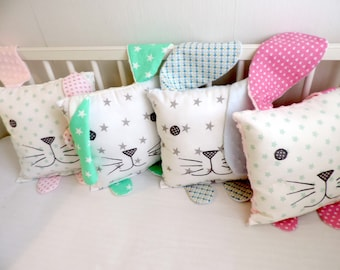 Woodland Nursery Pillow - Bunny Pillow - Rabbit Pillow - Children Pillow - Plush Animal - Decorative Pillow - Gifts For Baby Girl - Baby Boy