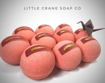 Rosé Blush Bath Bomb, wild rose natural bath fizzy hand painted gold glitter