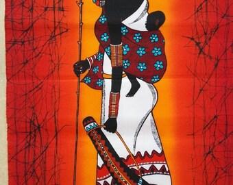 Wall Hanging Batik Handmade Red Maasai African Art Kenya