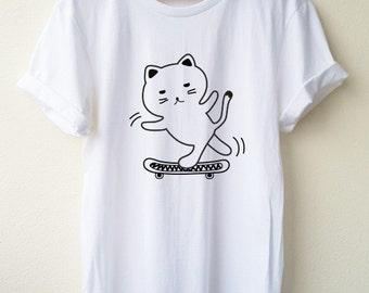 Cat On Sketch Board  T-Shirt Cartoon Unisex shirt Minimal Style Size S M L Tumblr Pinterest