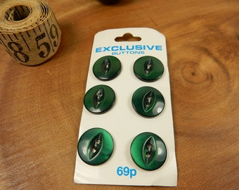 Green Buttons, Retro Button, Olive Green, Sewing Haberdashery, 15mm Buttons