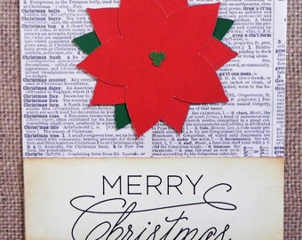 Poinsettia Christmas Card, Christmas card set, Holiday card set, Handmade Christmas Card