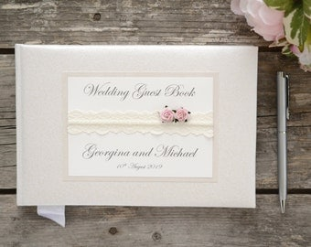 Personalised Wedding Guest Book. Vintage Style Lace & Rose Design. Luxury Handmade Wedding Guest Book.