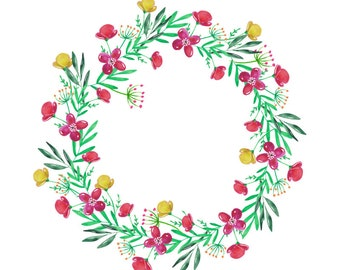 Flower Wreath Watercolour Digital Clip Art High Resolution F145