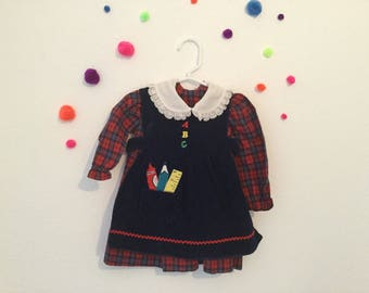Vintage peter pan collared dress vintage plaid dress, vintage school dress 70s baby dress 70s baby clothes, first day of school dress,