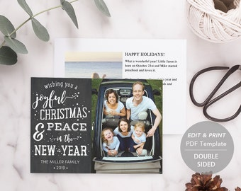 Printable Christmas Card, PDF Holiday Card Template, Instant Download, Photo Greeting Cards,Chalkboard, merry christmas and happy new year