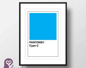 Pantone Cyan Poster | Pantone | Color | Design | Wall Art | Wall Decor | Home Decor | Prints | Poster | Digital Paper