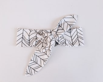 Knotted headband-top knot headband-white and grey featherland-hair band headband bow-baby headband