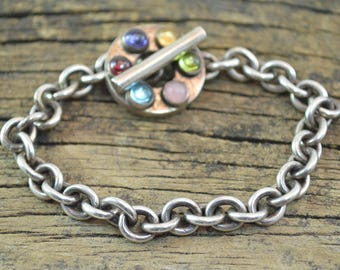 Multi-Stone Toggle Clasp Cable Chain Bracelet Sterling Silver 32.4g