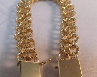 "Vintage 14k Solid Gold Triple Circle Link Bracelet- 7.5"" Long  #756"