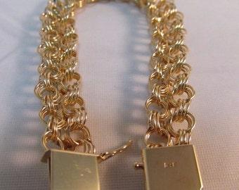 """Vintage 14k Solid Gold Triple Circle Link Bracelet- 7.5"""" Long  #756"""