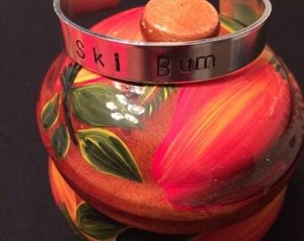 Ski Bum, hand stamped aluminum cuff bracelet, unique gift idea