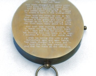 Antique Large Brass Pocket Compass (Engraved with Robert Frost's Poem, The Road Not Taken)