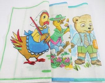 Vintage Handkerchief, Kids Handkerchief, Vintage Children's Hanky, Boy Girl Handkerchief, Retro Hanky, Animal Illustration, Cristmas gift