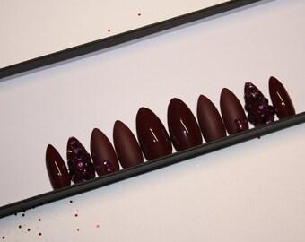 Matte burgundy and swarovski crystal accent nail fake nails press on nails