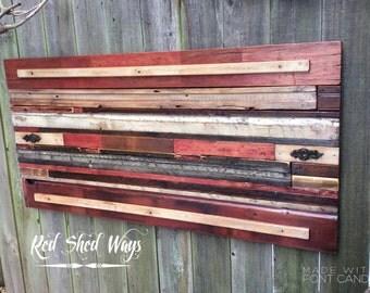 "reclaimed wood wall art, wood signs, wood artwork, "" REDS HORIZONTAL WALLART"","