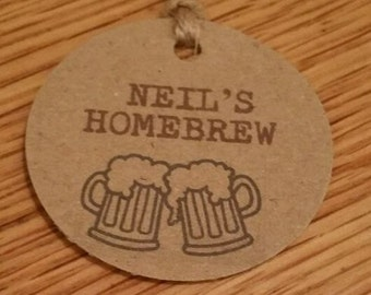 10 X PERSONALISED HOMEBREW Round Lables Tags