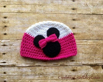 Minnie Mouse Crochet Hat, Pink White Crochet Hat, Minnie Mouse, Baby Girl Hat, Crochet Baby Hat, Disney Hat, Minnie Crochet Hat, Photo Prop