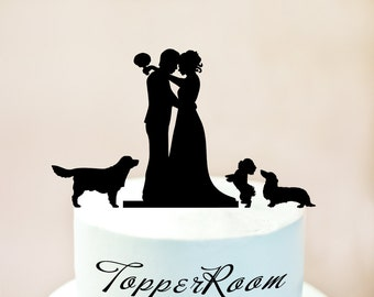 wedding cake topper silhouette with dogs labrador silhouette etsy 26501