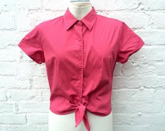 Vintage tie shirt, pink summer top, festival fashion