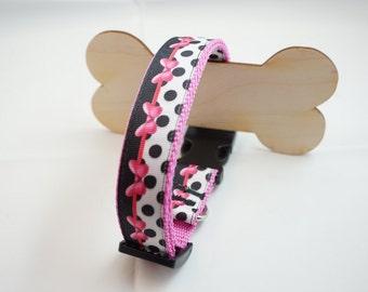 Dog collar collar rockabilly pink bows loop 34-51 cm