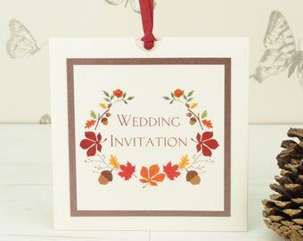 Autumn Theme Wallet Wedding Invitation SAMPLE