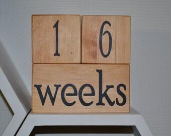 Wooden pregnancy Calendar,Baby Age Blocks,Week Month Year Grade Milestone Blocks,baby block,wooden baby block,age blocks,pregnancy blocks