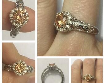 Daisy Simulated Morganite Silver Ring