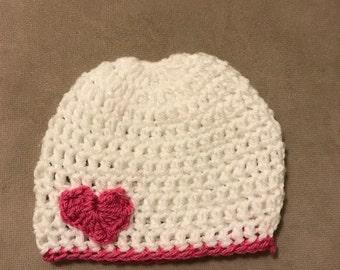 Crochet heart hat, Heart hat, baby crochet hat, baby Valentine's Day, crochet heart hat, heart beanie, valentine day hat
