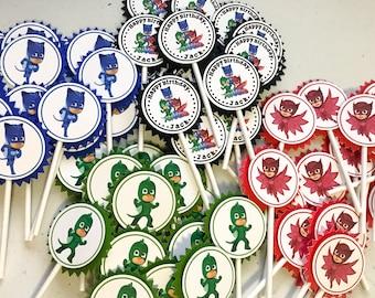 PJ Masks Cupcake Toppers / PJ Masks Cake Topper