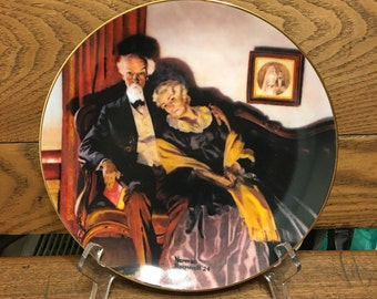 """Norman Rockwell Knowles Plate 1980's """"End of Day"""""""