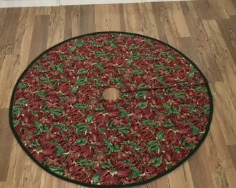 Christmas Tree Skirt/Tree Stand Cover/Under Christmas Tree Cloth/Pink and Burgundy Poinsettias/Green Braided Trim