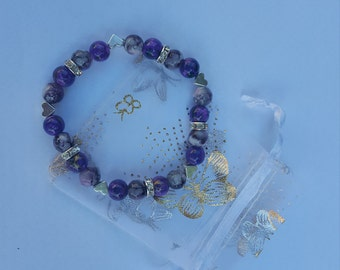 Purple Heart Beaded Bracelet