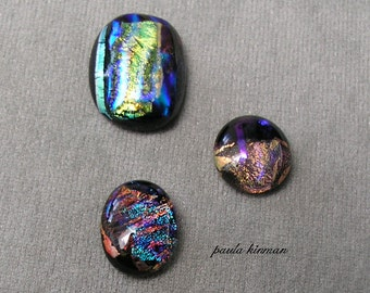 Set of three Dichroic Glass Cabochons #35