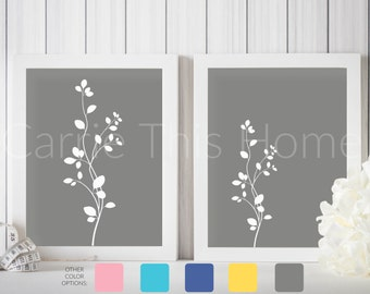 Instant download printable art set | gray flowers |  for living room, nursery or office
