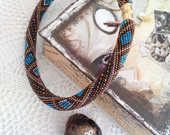 Beaded Crocheted Necklace Rope Jewelry Blu  brown Necklace