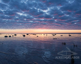Sunset painted clouds - fine art photography, instant download printable art, wall art, home decor, nature, office decor, seascape, cloud