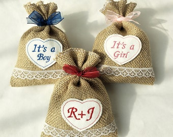 Burlap Wedding Favor Bags,Burlap Baby Shower Favor Bags,4x6'' Burlap Favor Bags,Rustic Wedding,Embroidered Favor Bags,Custom Favor Bags.