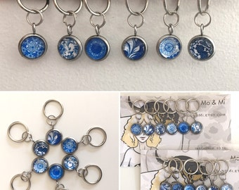 Blue and White Stitch Markers small