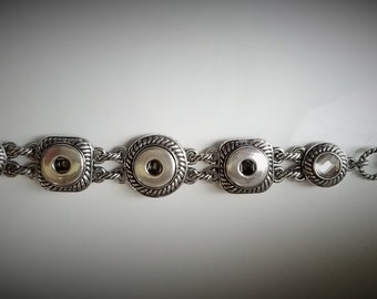 Snap Jewelry, Bracelet, Clear Rhinestones, Triple Snap, Fits wrist size  6.75 to 8.25 inch 20mm snap