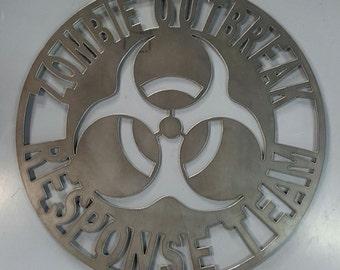 Zombie Outbreak Response Team metal wall art decor