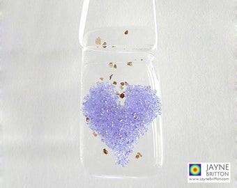 Purple heart light catcher, violet suncatcher, fused glass gift, window gift, stocking filler, teachers gift, gift under 5