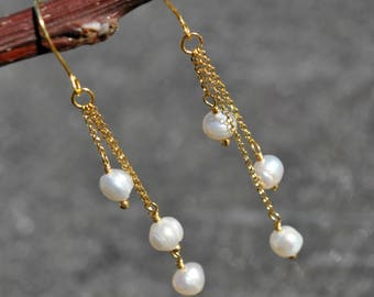 Pearl earrings, Trio drop earrings, Gold pearl jewelry wedding earrings, June Birthstone Jewelry