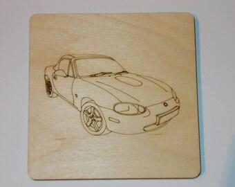 Mazda MX5 Coaster - Etched wood