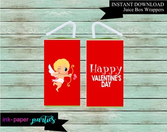 Printable Valentine's Kids Valentine Day Cupid Juice Box Wrappers Party Favors Favor Labels Digital File Instant Download