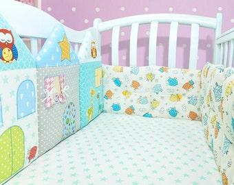 Luxury baby crib bedding decor: crib bumper, cot bumper (009)
