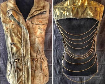 Olive, Denim, Bleached, Distressed, Chain, Vest